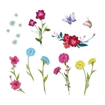 Collection de fleurs d'aquarelle