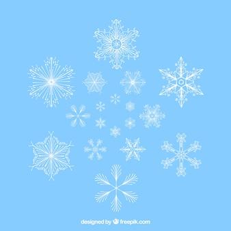 Collection de flocons de neige impressionnants
