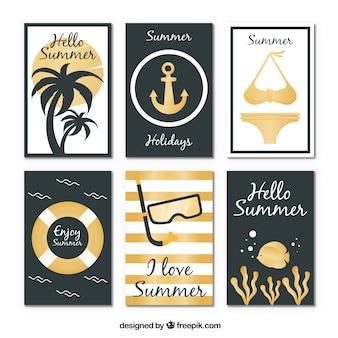 Collection de fond d'été design doré