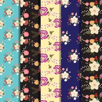 Collection de fond de motif de grandes fleurs