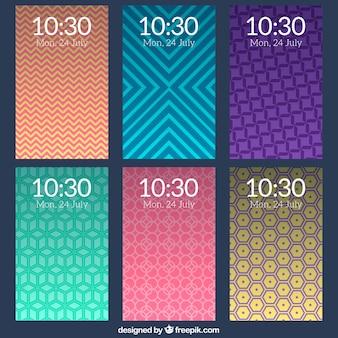 Collection de fonds d'écran mobiles avec des formes décoratives géométriques