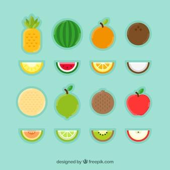Collection de fruits exotiques plat
