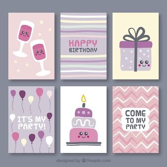 Collection de jolie carte d'anniversaire