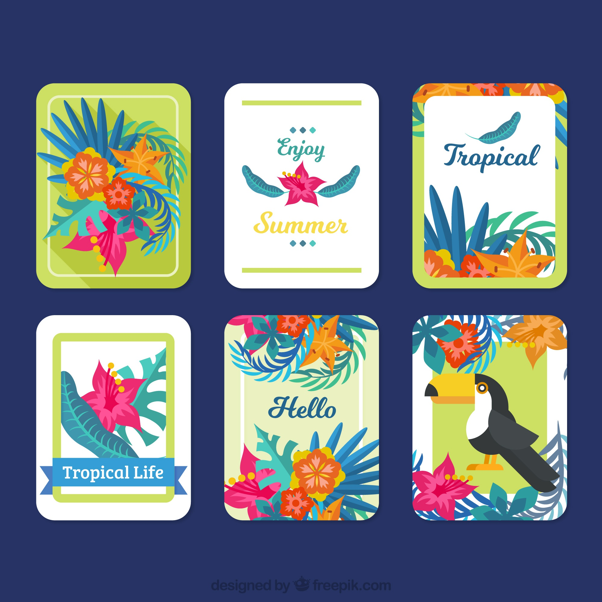 Collection de jolies cartes d'été