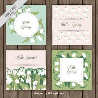 Collection de jolies cartes de voeux pour le printemps