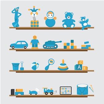 Collection de jouets bleus