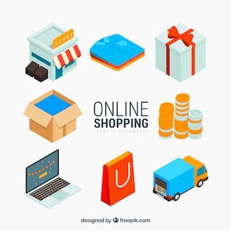 Collection de l'élément e-commerce en style isométrique