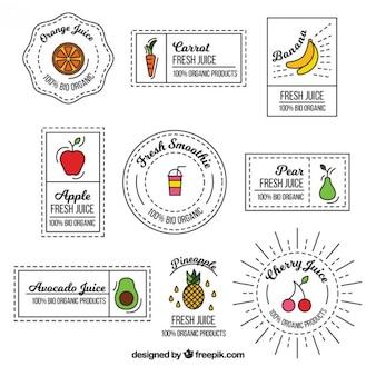 Collection de l'étiquette de fruit cru