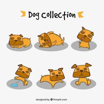 Collection de la main dessinée chiens belle