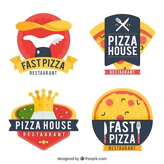 Collection de logo de pizza design plat