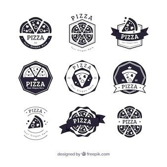 Collection de logo de pizza noir et blanc