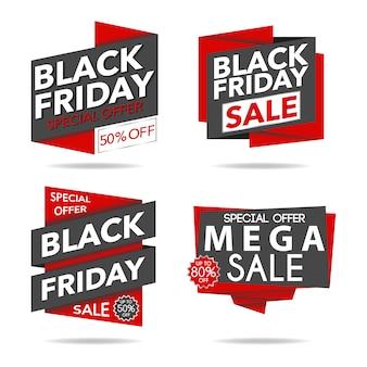 Collection de logo de vente rouge et noir vendredi