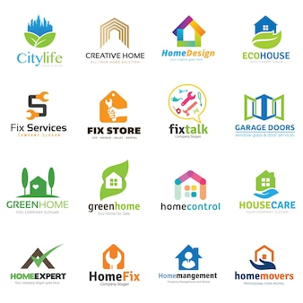 Collection de logo maison et immobilier.