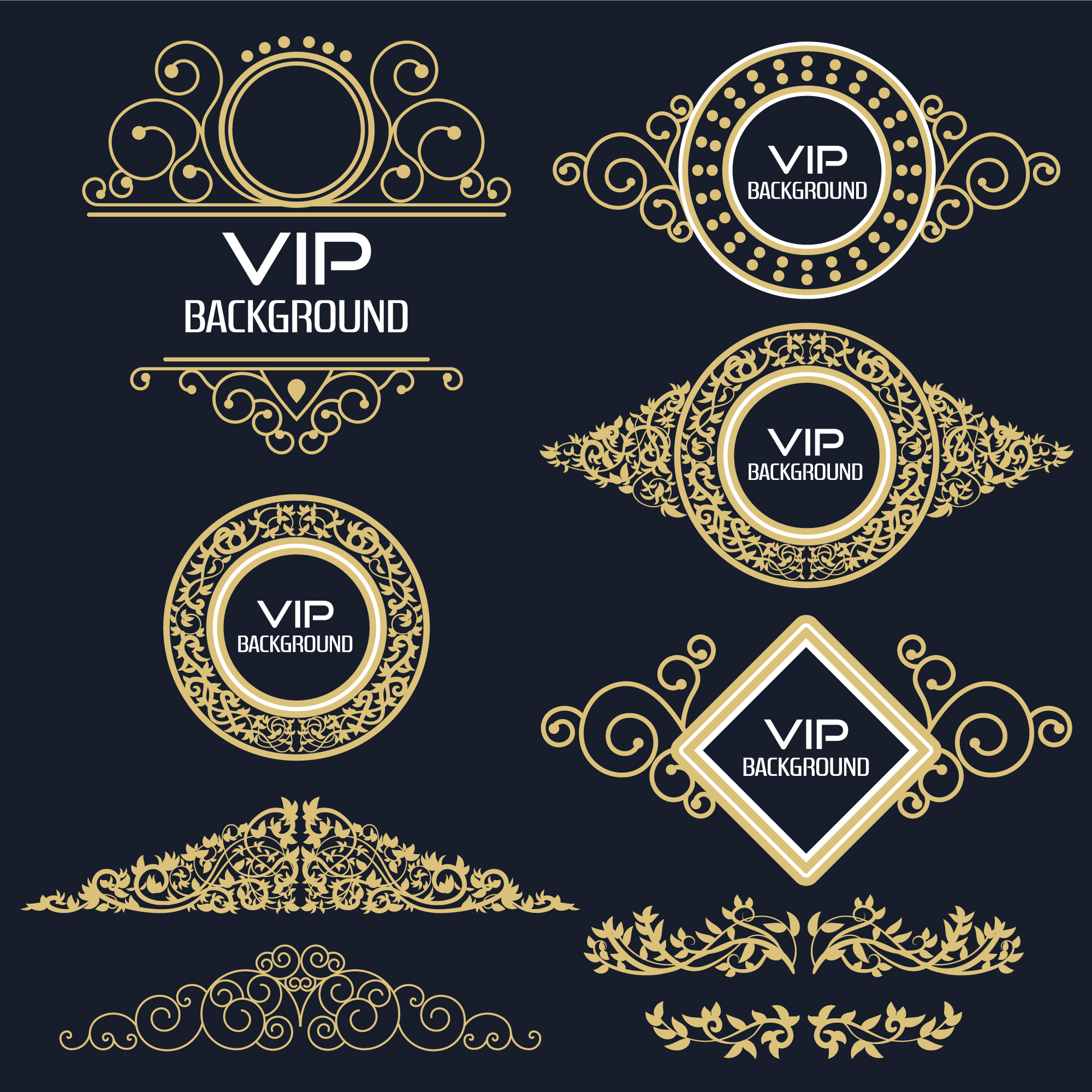 Collection de logo vip ornemental