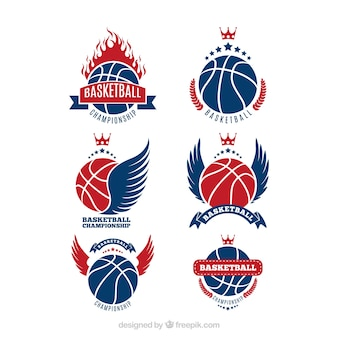 Collection de logos bleus et rouges de basketball