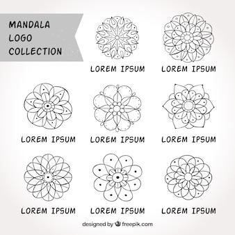 Collection de logos mandalas dessinés à la main
