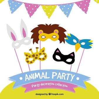 Collection de masques d'animaux et de la décoration de fête