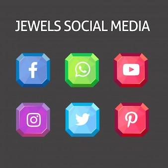 Collection de médias sociaux Jewels