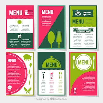 Collection de menus rétro