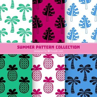 Collection de modèles d'été de palmier