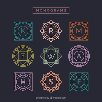 Collection de monogrammes multicolores