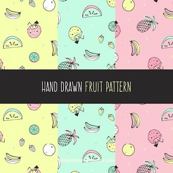 Collection de motif de fruits colorés en pastel