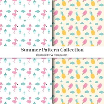 Collection de motifs d'éléments d'été roses