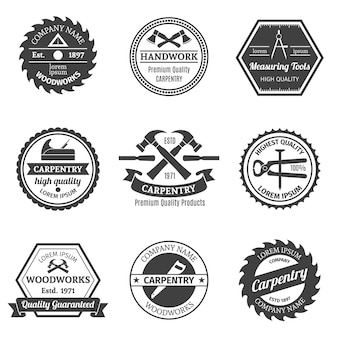 Collection de neuf badges de menuiserie