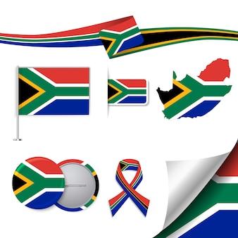 Collection de papeterie avec le drapeau de l'Afrique du Sud design