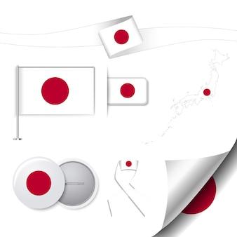 Collection de papeterie avec le drapeau du design japonais