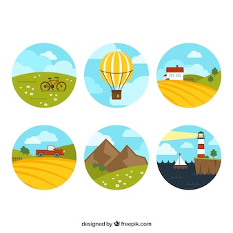 Collection de paysages ronde
