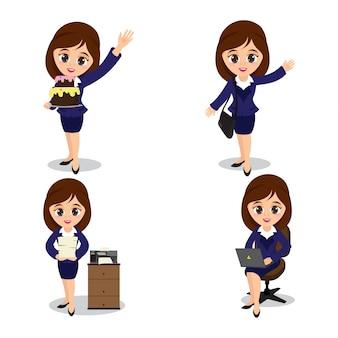 Collection de personnage de femme d'affaires