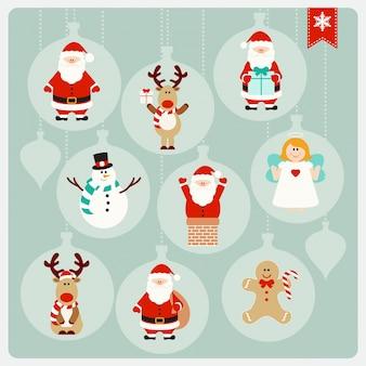 Collection de personnages de dessin animé mignon de Noël