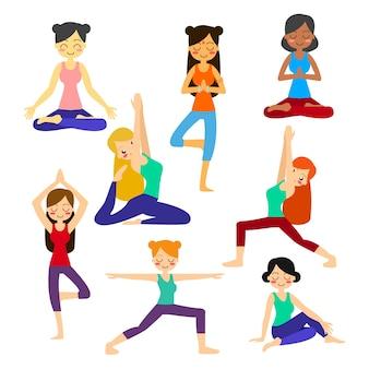 Collection de personnages de yoga
