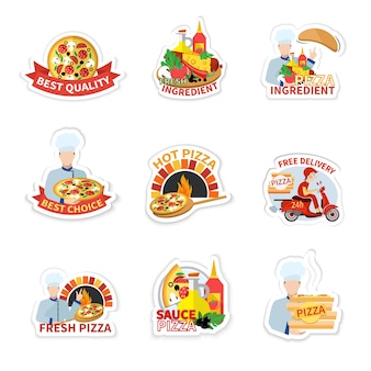 Collection de pizzas autocollants