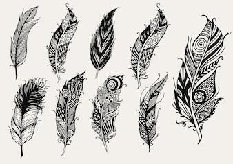 Collection de plumes dessinées à la main