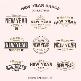 Collection de rétro nouveaux badges année