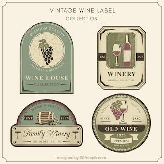 Collection de rétros autocollants de vin