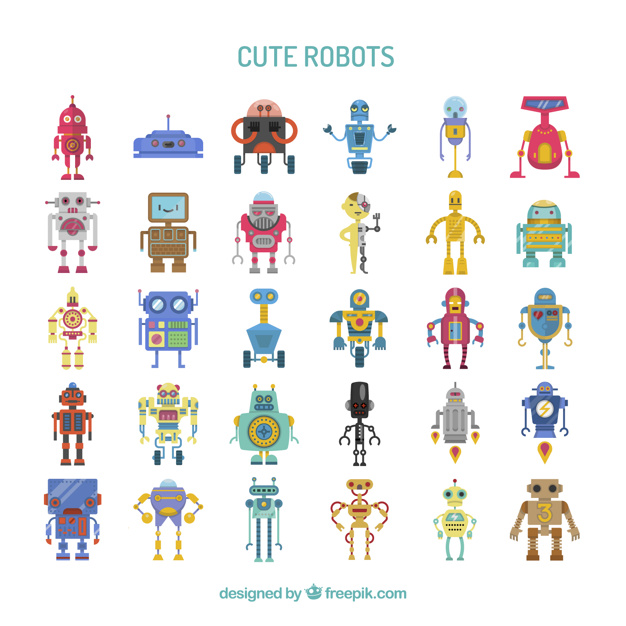 Collection de robots mignons et colorés
