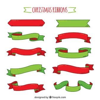 Collection de ruban de Noël dessinés à la main