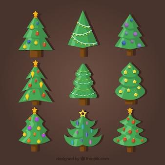 Collection de sapin de Noël avec des ornements