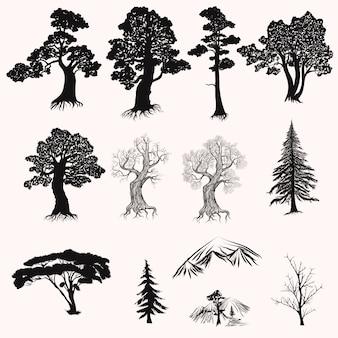 Collection de silhouettes d'arbres
