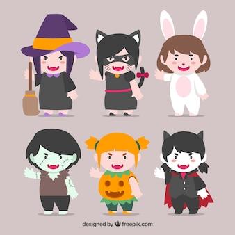 Collection de six personnages de Halloween