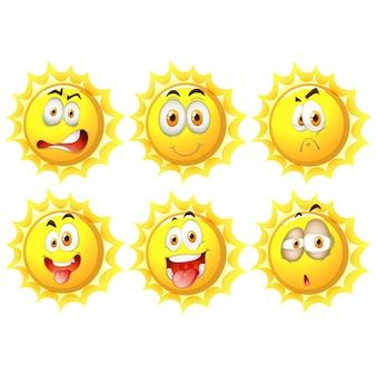 Collection de soleils jaunes