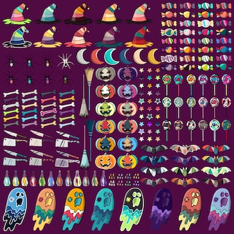 Collection de symboles de Halloween. Illustration vectorielle abstraite.