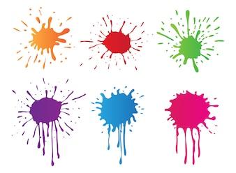 Collection de taches de peinture de couleur