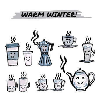 Collection de tasses dessinés à la main