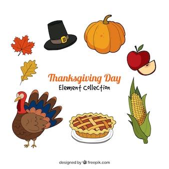 Collection de thanksgiving dessinés à la main