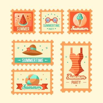 Collection de timbres d'été