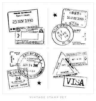 Collection de timbres de visa noir